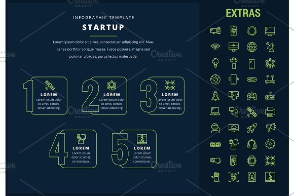 Startup Infographic Template Elements And Icons