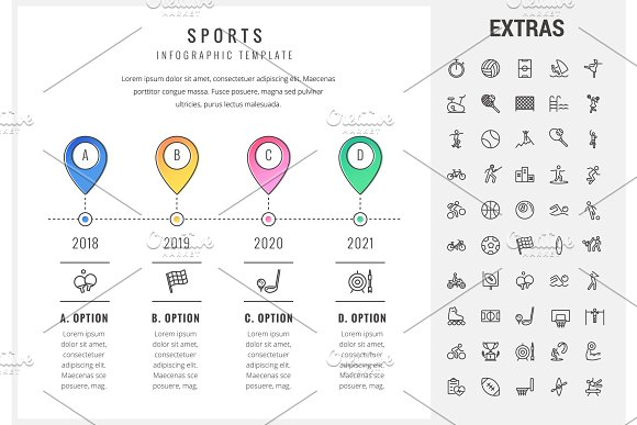 Sports Infographic Template Elements And Icons