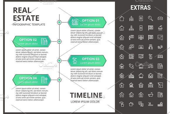 Real Estate Infographic Template Elements Icons
