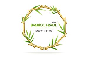 Bamboo Shoots Circle Frame. Vector