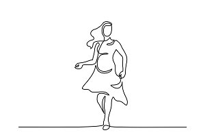 Happy pregnant woman walking, silhouette picture