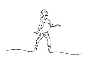 Happy pregnant woman dancing
