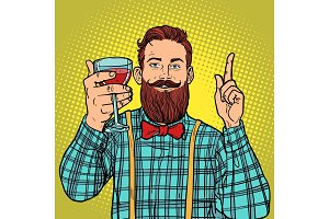 hipster with a glass of red wine
