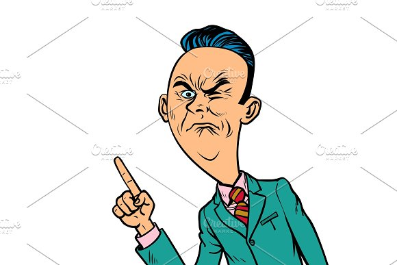 Wrinkled Nasty Bad Businessman Points Finger Gesture