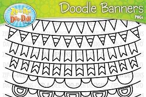 Doodle Banners Clipart Set 1