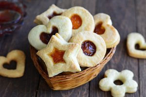 Tasty jam cookies of different shapes