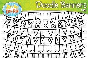 Doodle Banners Clipart Set 2
