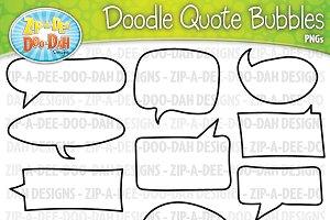 Doodle Quote Bubbles Clipart Set