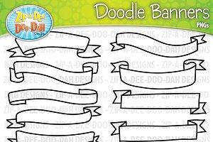 Doodle Ribbons Clipart Set 1