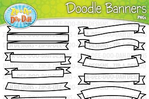 Doodle Ribbons Clipart Set 2