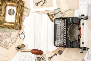 Antique typewriter flat lay
