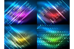 Set of glowing neon lines and shapes on dark, shiny motion, magic space light. Vector techno abstract backgrounds