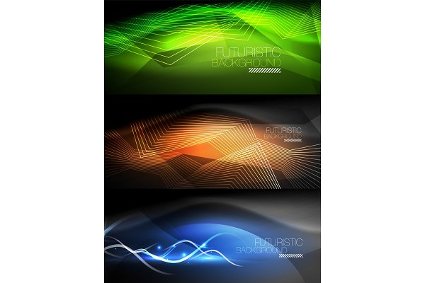 Set of neon glowing waves and lines…