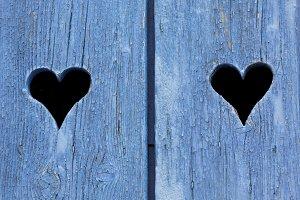 Blue wooden window shutters