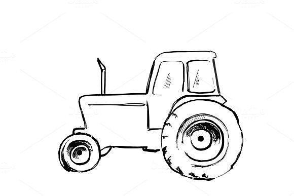 Tractor sketch. Agricultural machine. Hand drawn farmer equipment