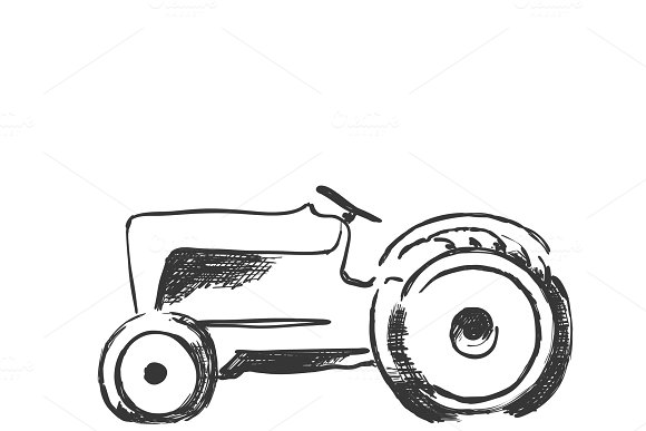 Tractor Sketch Agricultural Machine Hand Drawn Farmer Equipment