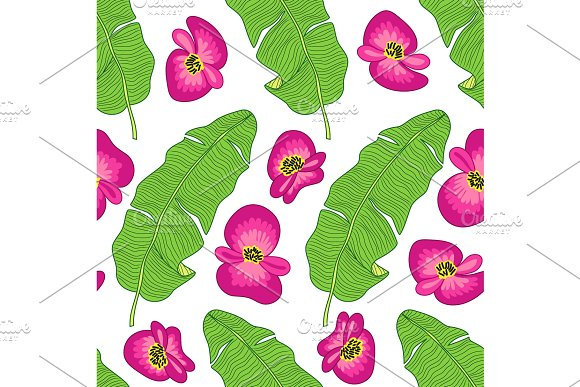 Beautiful botanical seamless pattern with tropical flowers and foliage as banana palm tree leaves on striped background