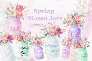 Mason jar clipart. Spring clipart
