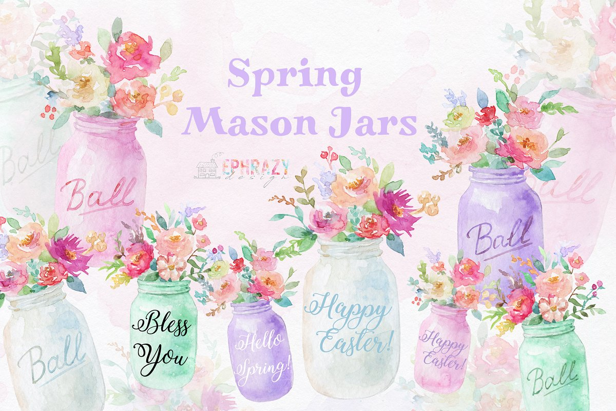 Mason jar clipart. Spring clipart in Illustrations - product preview 8