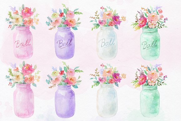 Mason jar clipart. Spring clipart in Illustrations - product preview 1