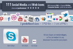 111 Social Media and Web Icons