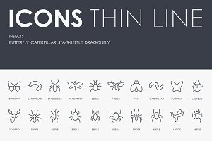 Insects thinline icons