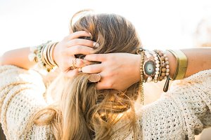 Hair Back With Stacked Jewelry