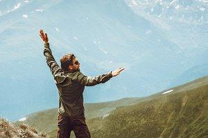 Happy Man jumping levitation