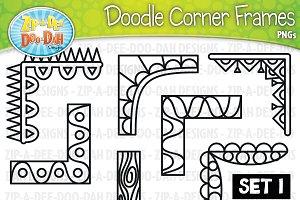 Doodle Corner Frames Clipart Set 1
