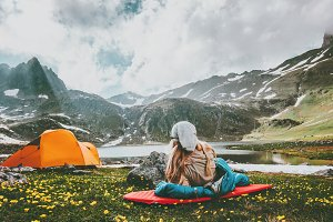 Camping travel in mountains
