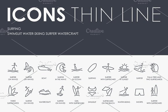 Surfing Thinline Icons