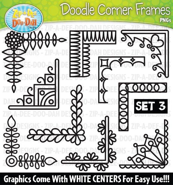 Doodle Corner Frames Clipart Set 3
