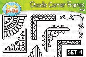 Doodle Corner Frames Clipart Set