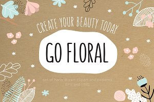 Go Floral, set of patterns & clipart