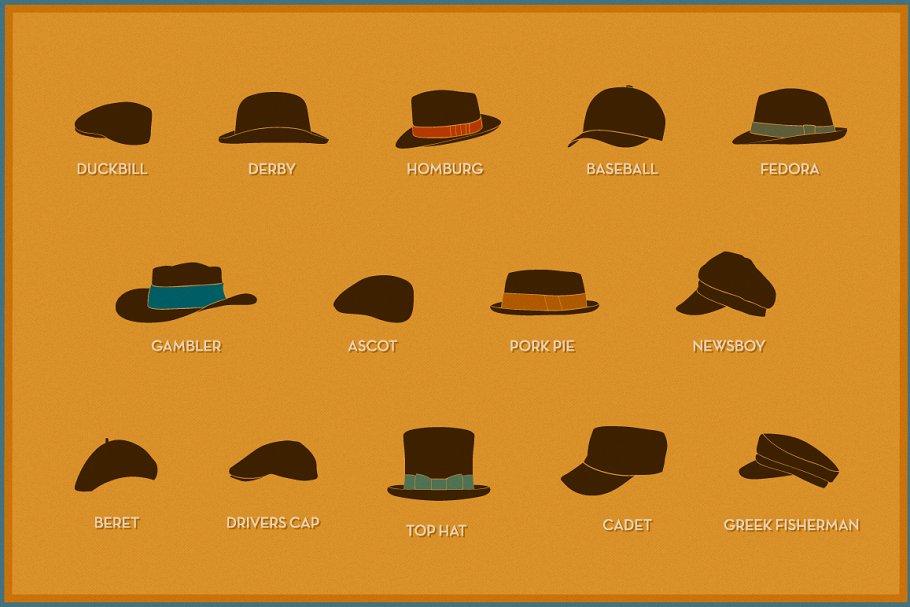 Retro hats ~ Graphics ~ Creative Market 79b1c2386f3