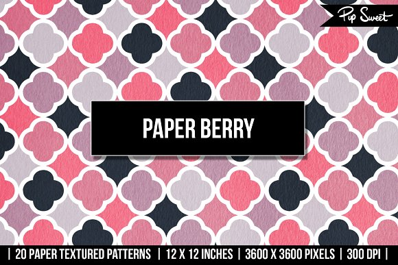 Paper Berry 20 Textured Pattern Set