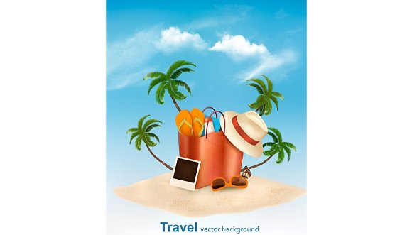 Seaside Vacation Vector Travel Item