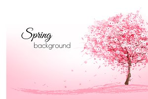 Pink blooming sakura tree. Vector