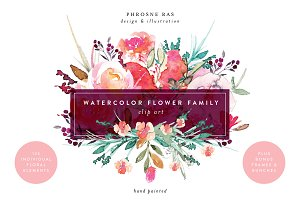 Watercolor Flower Family Clip Art