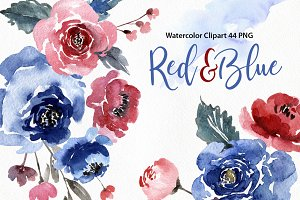 Watercolor Blue&Red Flowers Leaves