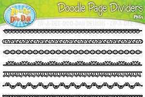 Doodle Page Divider Clipart Set 2