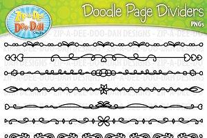 Doodle Page Divider Clipart Set 3