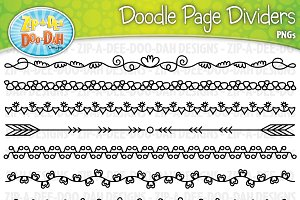 Doodle Page Divider Clipart Set 4