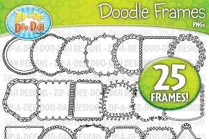 Thin Doodle Frames Clipart Set 1