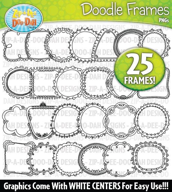 Thin Doodle Frames Clipart Set 2