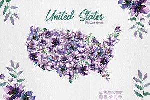 United States Flower Map clipart