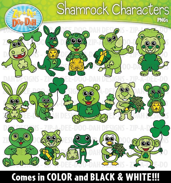 Shamrock Characters Clipart Set