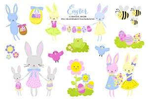 Easter Spring Egg Hunt Clip Art