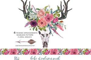 Watercolor Boho Salmon Pink Clip Art