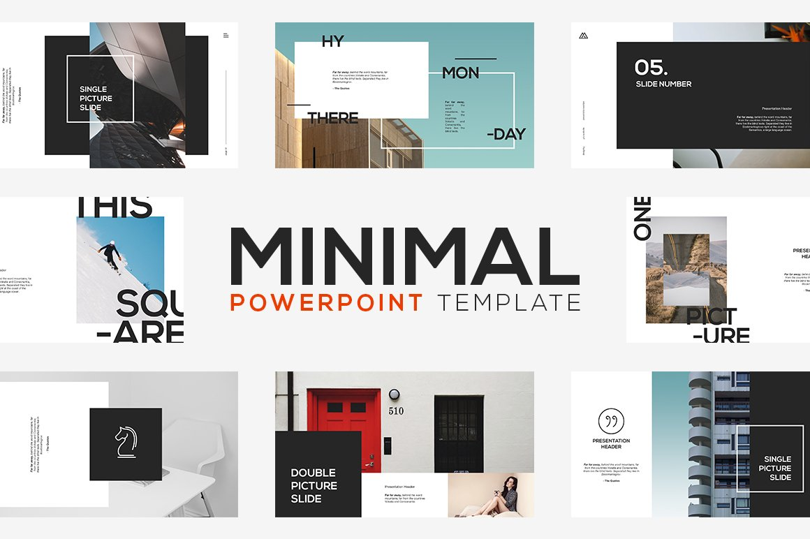 minimal powerpoint template presentation templates creative market. Black Bedroom Furniture Sets. Home Design Ideas